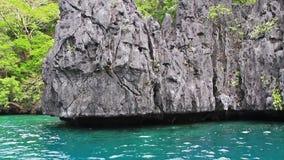 Cliffs in sea stock video