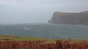 Cliffs seen from Lower Milovaig during the autumn storm Callum - Isle of Skye, Scotland. United Kingdom stock video
