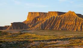 Cliffs at semi-desert landscape   in sunny morning. Navarra, Spa Royalty Free Stock Image