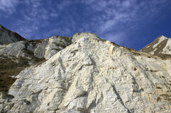 Cliffs and Sky. White cliffs with a cloudy blue sky Stock Images