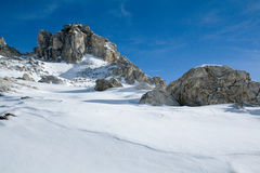 Cliffs and snow. Winter landscape. Mountain landscape with big rocks. Italian Alps Royalty Free Stock Photos