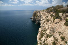 Cliffs - South point of Malta. Great view from 50m high cliffs (Filfla island on horizon Royalty Free Stock Images