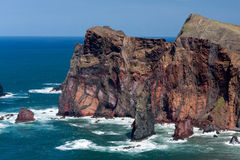 Cliffs at St Lawrence Madeira showing unusual vertical rock form Royalty Free Stock Photography