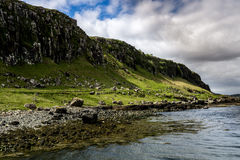 The cliffs of Staffin in Scotland, Europe. Cliffs on the border of Scotland near Staffin, with a blue grey cloudy sky Royalty Free Stock Image