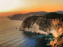 Cliffs at sunset. Cliffs of island Zakynthos at sunset (Greece Royalty Free Stock Image
