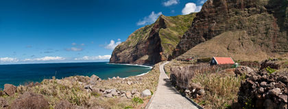 Cliffs surround a bay on Madeira Royalty Free Stock Image