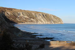 Cliffs in Swanage. Cliffs on seashore in Swanage in south England Durlston National Nature Reserve stock photography