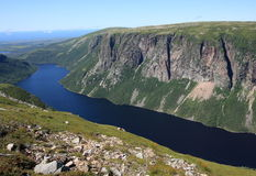 Cliffs and Ten Mile Pond. Ten Mile Pond and surrounding landscape in Gros Morne National Park, Newfoundland, Canada Stock Images