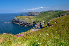Cliffs at Tintagel on Atlantic coast of Cornwall. Rugged coastline on the Atlantic Ocean Royalty Free Stock Image
