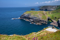 Cliffs at Tintagel on Atlantic coast of Cornwall. Rugged coastline on the Atlantic Ocean Stock Photo