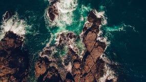 Cliffs topview. Topview aerial shot of seacliffs stock photography