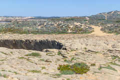 Cliffs and trails,  Vila Nova de Milfontes. Alentejo, Portugal Royalty Free Stock Photography