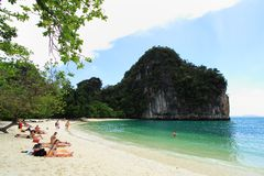 Cliffs with trees at Hong island, Thailand Royalty Free Stock Images