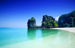 Cliffs with trees at Hong island, Thailand stock photo