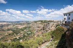 Cliffs under Ronda town Stock Images