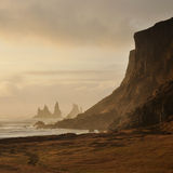 Cliffs in Vik village, Iceland Royalty Free Stock Images