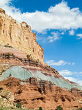 Cliffs of the Waterpocket Fold. The Waterpocket Fold, a long geological feature running through Utah's Capitol Reef National Park, displays many vivid colors of Royalty Free Stock Photos