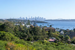 Cliffs at Watsons bay Sydney. Views of downtown Sydney from Watsons bay Royalty Free Stock Photography