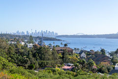 Cliffs at Watsons bay Sydney. Views of downtown Sydney from Watsons bay Royalty Free Stock Images