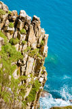 Cliffs and waves, blue deep sea, Dai Lanh Beach Stock Images
