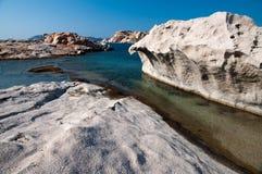 Cliffs of white granite Stock Photos