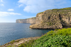 Cliffs in Xlendi Bay - Gozo Malta. The cliffs of Xlendi in Gozo Stock Image
