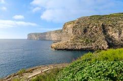 Cliffs in Xlendi Bay - Gozo Malta Stock Image