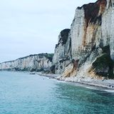 The cliffs of Yport France Stock Images