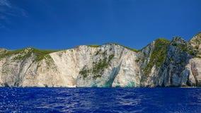 Cliffs in Zakynthos. Blue water and cliffs in Zakynthos stock photography