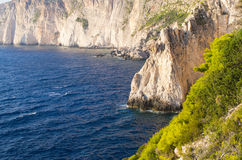 Cliffs of Zakynthos island, Agalas, Greece Stock Images