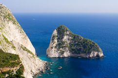 Cliffs of Zakynthos island, Agalas, Greece Royalty Free Stock Images