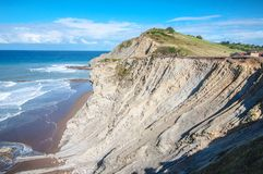 Cliffs in Zumaia, Spain Royalty Free Stock Images