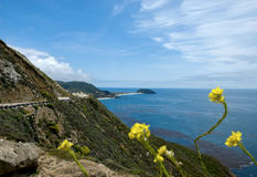 Cliffside Highway in California's Big Sur. Greatest road trip destination in the world. Highway 1, also known as the California Big Sur royalty free stock photography