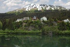 Cliffside nocuje, drewniani domy na faleza widoku miejscu/ fotografia royalty free