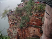Cliffside stairs beside Leshan Grand Buddha. Stairs wind down the cliff beside China's Leshan Grand Buddah Royalty Free Stock Photography