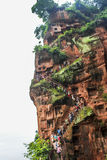 Cliffside stairs beside Leshan Grand Buddha Royalty Free Stock Images
