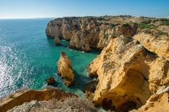 Cliffside view in Portugal stock photography