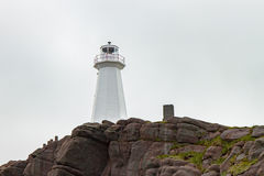 Cliffside White Lighthouse at Cape Spear Newfoundland Royalty Free Stock Photo