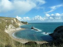 Clifftop view of Jurassic Coast stock image
