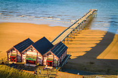 Clifftop view of Pier at Saltburn by the Sea Stock Images