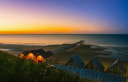 Clifftop view of Pier at sunset of Saltburn by the Sea Stock Photography