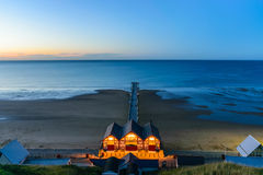 Clifftop view of Pier at twilight time of Saltburn by the Sea. North Yorkshire, UK Royalty Free Stock Photo