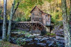 Glade Creek Grist Mill. Clifftop, WVA – October 12th: An Autumn view of Glade Creek Grist Mill located in Babcock State Park in Clifftop, West Virginia stock photos