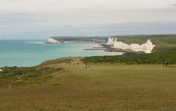 Clifftops near Beachy Head, Eastbourne, England stock photos