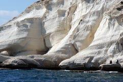 Clifs del hanikra de Rosh en Israel del norte cerca del huésped de Líbano Imagen de archivo libre de regalías