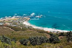 Clifton海滩的图象从狮子题头的 免版税库存图片