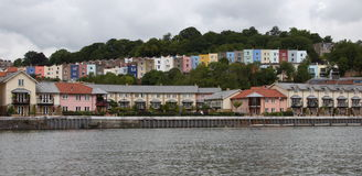 Clifton Houses, Bristol. A row of colourful houses alongside the River Avon in Bristol, England royalty free stock photography