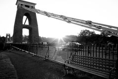 Clifton Suspension Bridge. Black and white view of sunset over Clifton Suspension Bridge, Bristol and Somerset, England royalty free stock image