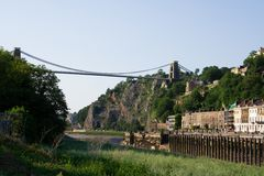 Clifton Suspension Bridge. Bristol's famous bridge from the southern bank of the Avon stock images