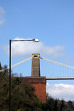 Clifton suspension bridge. South tower of Clifton suspension bridge in Bristol stock images